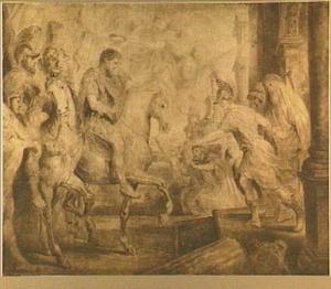 De triomfantelijk intocht van Constantijn in Rome, 312 n. Chr.