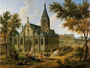 Een gothische kerk op een levendig plein
