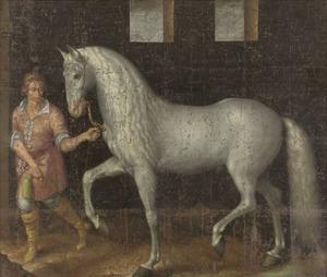 De door Lodewijk Gunther van Nassau bij Nieuwpoort op aartshertog Albert buitgemaakte en aan prins Maurits geschonken strijdhengst met verzorger, 1600