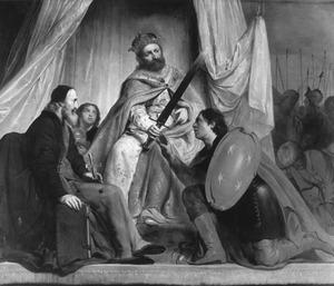 De Duitse keizer Frederik II verleent Haarlem het zwaard en de patriarch van Jeruzalem het zilveren kruis als wapenvermeerdering na de verovering van Damiate (1219)