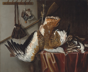 Jachtstilleven van dood gevogelte: een trapgans en een patrijs aan een touw hangend en enkele zangvogels en een nonnetje op een tafel