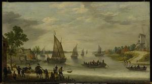 Rivierlandschap met boten