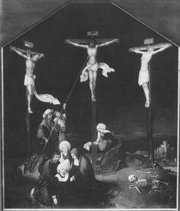 De kruisiging op Golgota:: Longinus doorboort de zijde van Christus