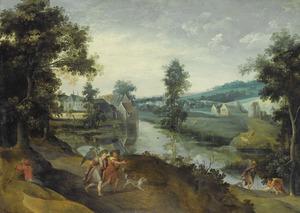 Bebost heuvellandschap met scènes uit het verhaal van Tobias en de engel