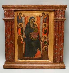 Tronende Maria met Kind, engelen en heiligen