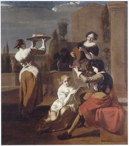 Musicerend gezelschap en vrouw met dienblad in een tuin
