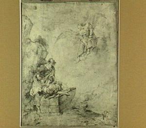 Een engel weerhoudt Abraham om Isaak te offeren (Genesis 22:10-12)