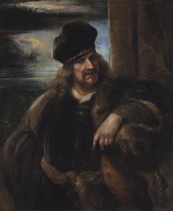 Tronie van een man, ten halve lijven in een bontmantel met een fluwelen baret