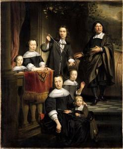 Portret van een wijnhandelaar met zijn familie