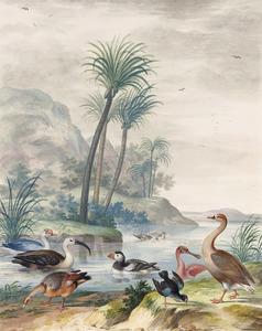 Muskuseend, ibis, nijlgans, papegaaiduiker, waterhoen, lepelaar en een onbekende ganssoort in een exotisch landschap