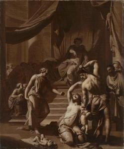 Het oordeel van Salomo: Salomo beveelt een soldaat het levende kind in tweeën te snijden; De ware moeder smeekt het levende kind zeker niet te doden (1 Koningen 3: 25-27)