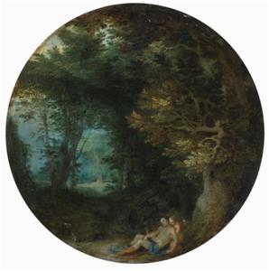 Venus en Cupido in een bebost landschap