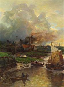 Vissersboten met in de achtergond de stad Antwerpen
