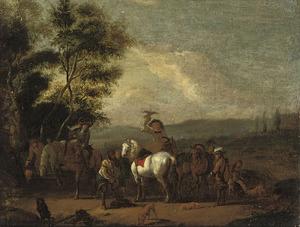 Zuidelijk landschap met rustende valkenjagers
