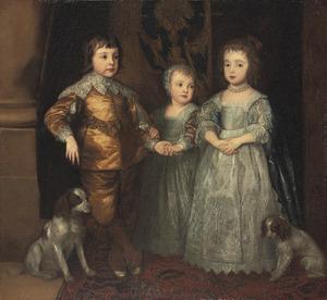 De drie oudste kinderen van Karel I Stuart (1600-1649) en Henriëtta Maria de Bourbon (1609-1669): Charles (1630-1685), Mary (1631-1660), en James (1633-1685), met twee spaniëls