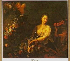 Jonge vrouw met bloemen en drie putti bij een met een bloemenslinger omhangen tuinvaas