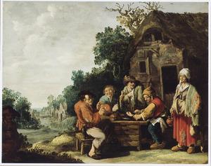 Etend en drinkend boerengezelschap voor een herberg