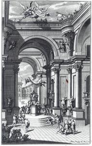Fantasie-architectuur met figuren