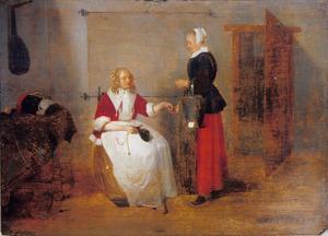 Interieur met een huisvrouw die geld geeft aan een dienstmeid