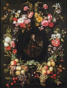 Portret van een officier in een cartouche omringd met  een guirlande van bloemen en vruchten