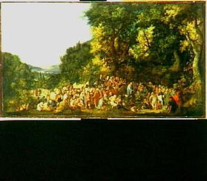 Christus zieken genezend in een boslandschap