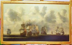 Zeeslag tussen Hollandse en Spaanse oorlogsschepen