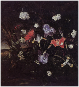 Stilleven met irissen, klaprozen, rozen, vlinders, een slang en distels