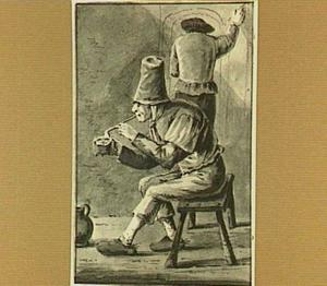 Zittende figuur met pijp, daarachter een op de muur tekenende man