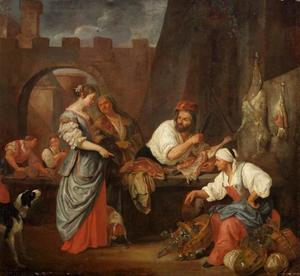 Marktscène met slager en klant