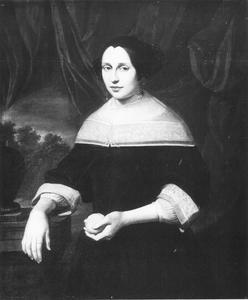 Portret van een vrouw met een citroen in de hand