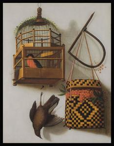 Trompe l'oeil met vogelkooi