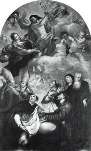 Christus als rechter omgeven door heiligen