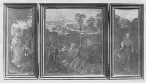 Rust op de vlucht naar Egypte (links); de boetvaardige H. Hieronymus (midden); de H. Antonius van Padua (rechts)