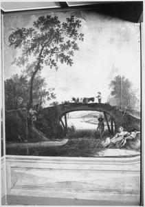 Landschap met scènes rond een stenen boogbrug