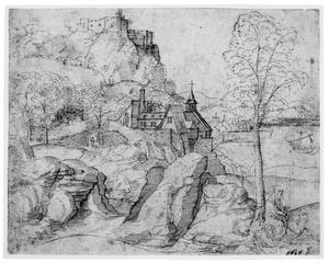 Berglandschap met de H. Hieronymus die een doorn uit de poot van de leeuw trekt
