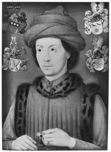 Portret van een man met een rozenkrans in de hand, mogelijk Rogier, graaf van Blitterswijk-Geldern