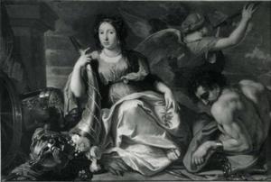 Vrouwelijke figuur als een allegorie van de vrede, rustend op wapens
