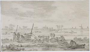 Polderlandschap met rivier, koeien en figuren