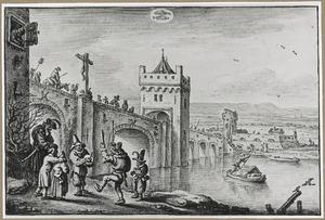 Carnaval bij een brug (de maand Februari)