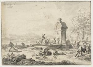 Italianiserend landschap met herders bij een fontein, geïnspireerd op de fontein op het Forum Romanum in Rome