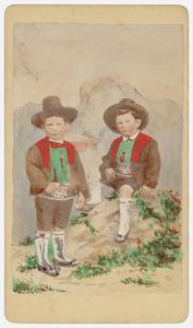 Portret van Johannes Emil van der Vliet (1864-1939) en David Johannes van der Vliet (1864-1894)