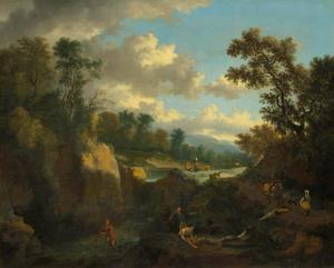 Italianiserend landschap met vissers en herders bij een waterval