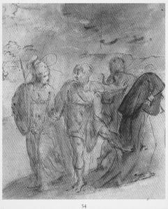 Minerva met drie figuren