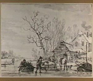 Winterlandschap met figuren op het ijs, bij een boerderij