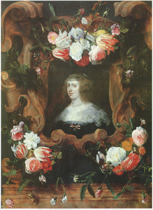 Cartouche versierd met bloemguirlandes rondom een portret van aartshertogin Maria Anna van Oostenrijk (1610-1665)