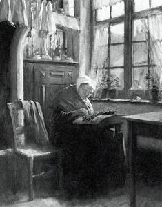 Interieur met kantklossende oude vrouw