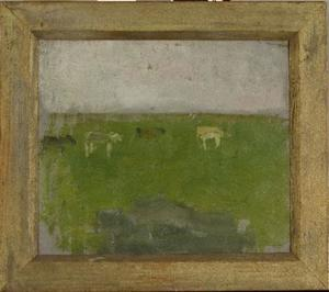Landscape with four cows in profile