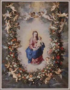 Madonna omgeven door een guirlande van bloemen opgehouden door cherubijnen