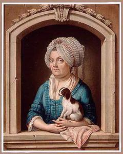 Een portret van een vrouw, ten halve lijve, in een stenen boogvenster met een kooikerhond