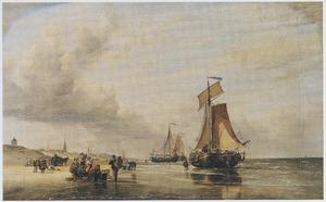 Kustscène in Scheveningen met visser en schepen op het strand